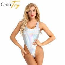 ChicTry Faux cuir coupe haute gymnastique justaucorps maillot de bain femmes body pôle danse Costume Festival Rave vêtements holographiques