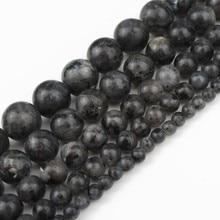 Perles en pierre naturelle Labradorite noire Larvikite perles rondes pour la fabrication de bijoux collier de bracelet à bricoler soi-même 4 6 8 10 12 14 mm 15 inch