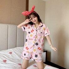 Cute Sailor Moon Print Women Pajamas Sets Summer Short Sleeve Cotton Sleepwear Pink Pijama Mujer Female Nightsuit