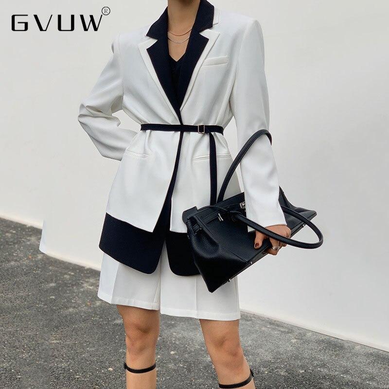 GVUW 2021 خريف جديد طبقة مزدوجة دعوى متوسطة طول معطف فضفاض المرأة طويلة الأكمام سترة أنيقة ضئيلة عادية Dames KB92938