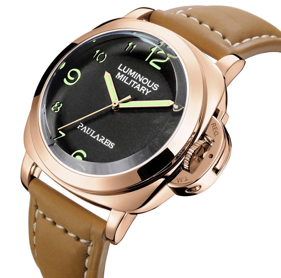 Hommes automatique auto vent mécanique véritable bracelet en cuir marron jaune vert militaire lumineux 44mm luxe montre en or Rose