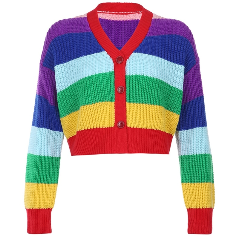 Women Long Sleeve Rainbow Stripes Knit Cardigan V-Neck Buttons Cropped Sweater enlarge