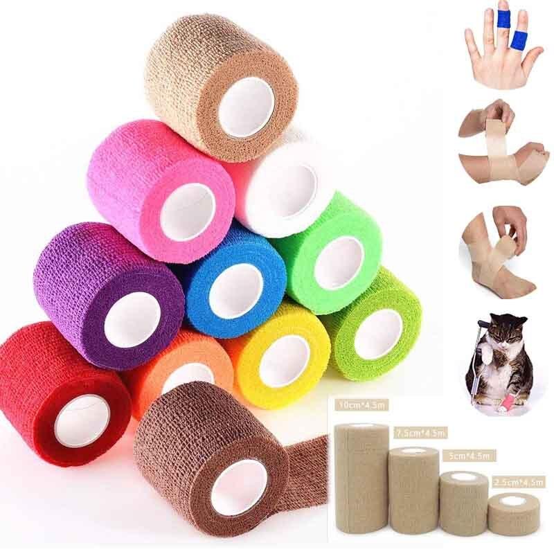 4,5 M colorido deporte Auto adhesivo elástico vendaje cinta Elastoplast para rodilleras almohadillas dedo tobillo Palma hombro 4 tamaño
