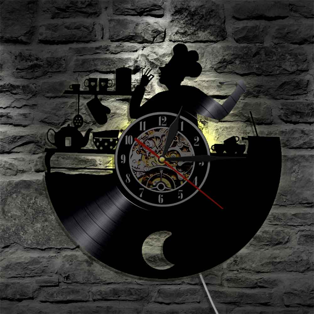 Chef de cocina reloj de pared de registro de vinilo LP reloj...