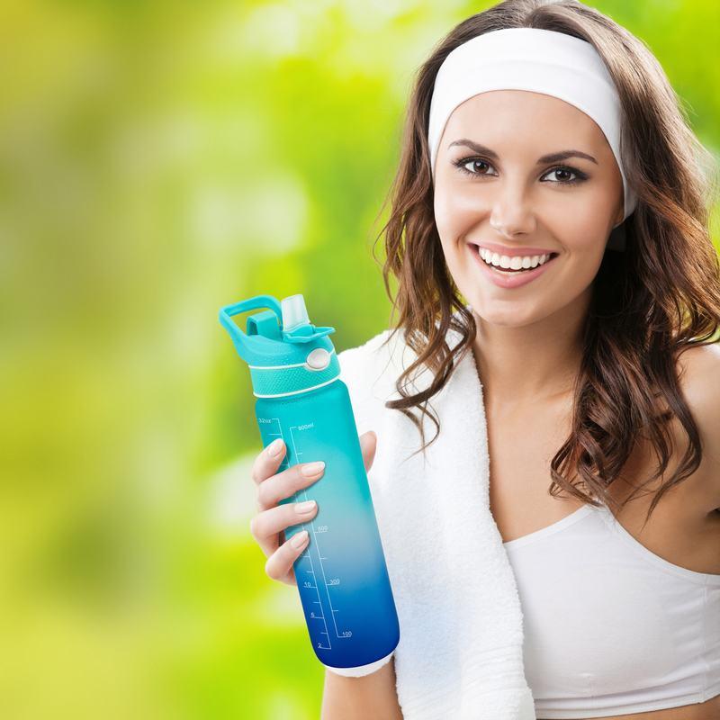1 لتر الهواء حتى زجاجة تحفيزية اللياقة البدنية الوجه العلوي القدح 32 أوقية الرياضة تريتان ضباب البخاخ 1000 مللي زجاجات مياه الشرب مع القش