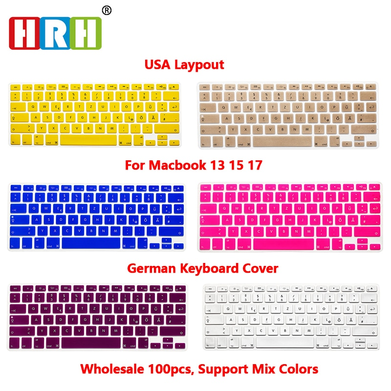HRH German 100pcs Silicone Keyboard Cover Skin Protector Protective Film For Macbook Air 13