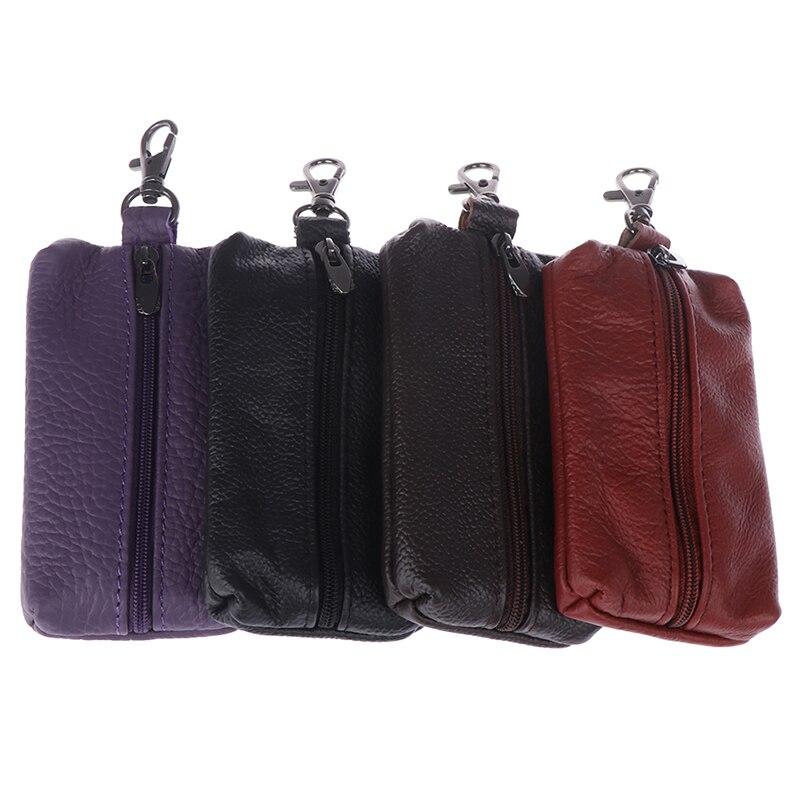 1pc Leather Men Women Wallets Key Organizer Cute Car Key Holder Housekeeper Covers Zipper Bag Keycha