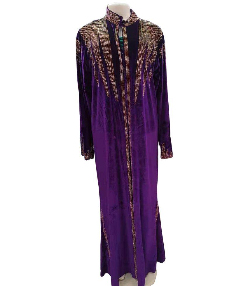 جديد الأفريقي المرأة Dashiki موضة عباية أنيقة Flannelette النسيج الساخن الحفر تصميم فضفاض معطف طويل فستان حجم الحرة