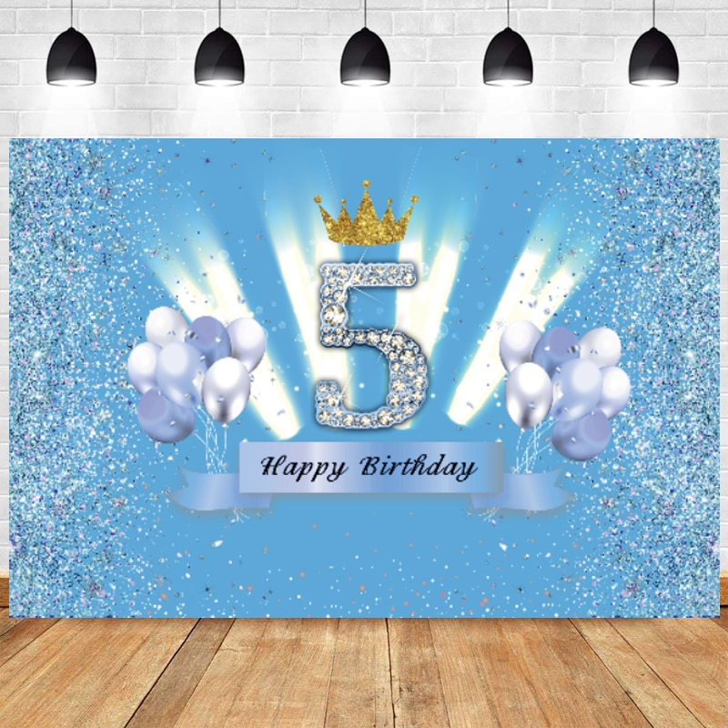 Blue Sweet 5th Photo Backdrop 5 Years Old Boy Girls Happy Birthday Party Photography Background Photocall Decoration Banner свитшот sweet years sweet years sw012emglfs7