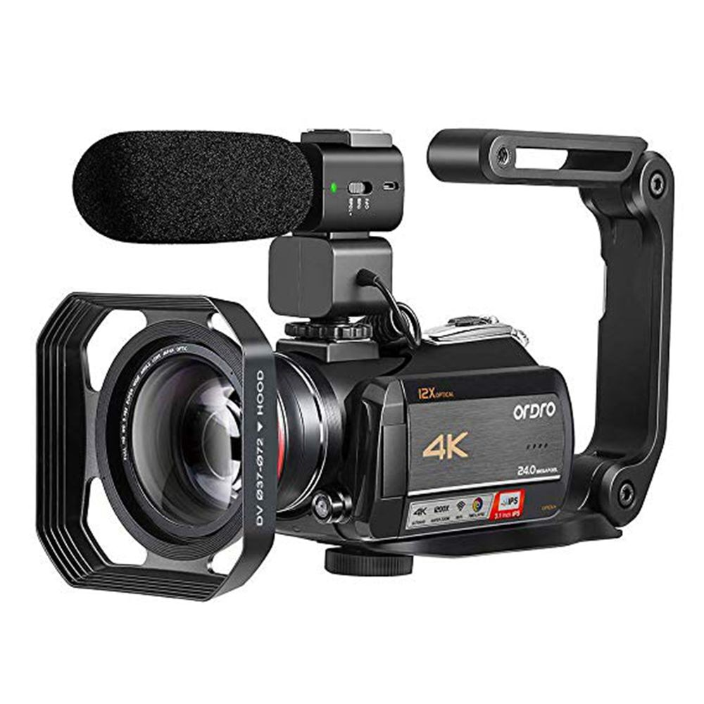 Ordro-كاميرا فيديو AC5 4K ، تقريب بصري احترافي 12X لمدونات YouTube ، تصوير مباشر