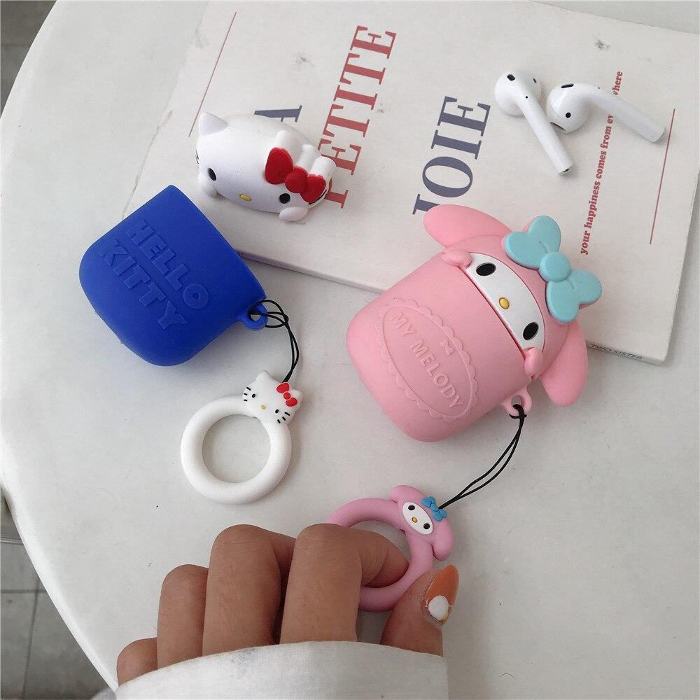 Bonita funda de silicona con dibujos animados 3D de My melody para Apple Airpods 1, 2 INS, bonita funda protectora con cordón y anillo de hello kitty