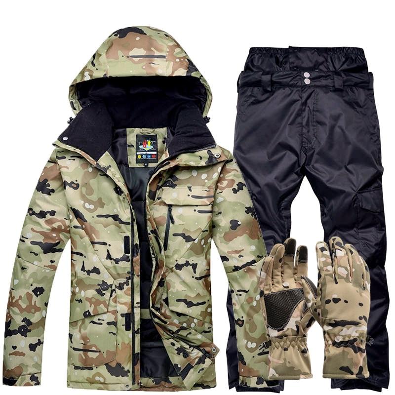 بدلة تزلج مموهة للرجال ، ملابس ثلج خارجية مقاومة للماء ، للبالغين
