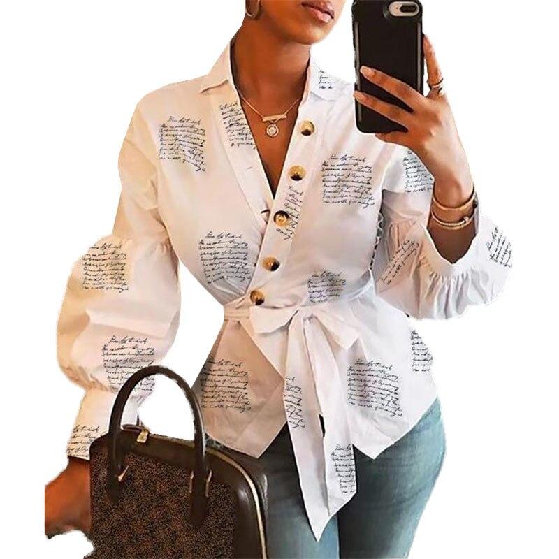 New White Blouse Women Clothing Letter Print Lantern Autumn Office Lady Blusas Mujer Elegant Fashion Tops Plus Size Sashes M0294