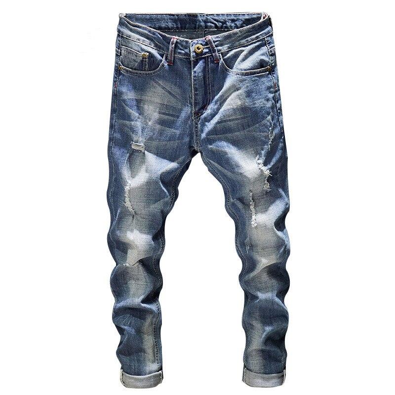 Рваные мужские джинсы, мужские облегающие светло-голубые Стрейчевые модные уличные потертые повседневные джинсы в стиле хип-хоп, мужские б...