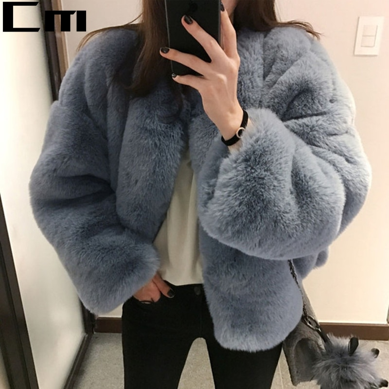 Faroonee, elegante abrigo HI-Q de piel peluda para mujer, mullido abrigo de manga larga para mujer, abrigo de invierno para otoño, chaqueta, abrigo peludo