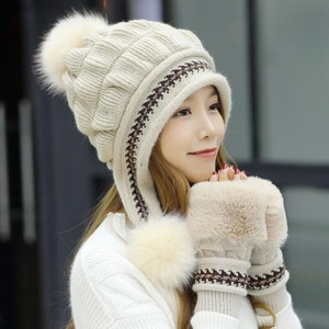 Winter Hat With Toe Cap For Women And Girl Warm Gloves Knit Beanie Comfortable And Useful Solid Color