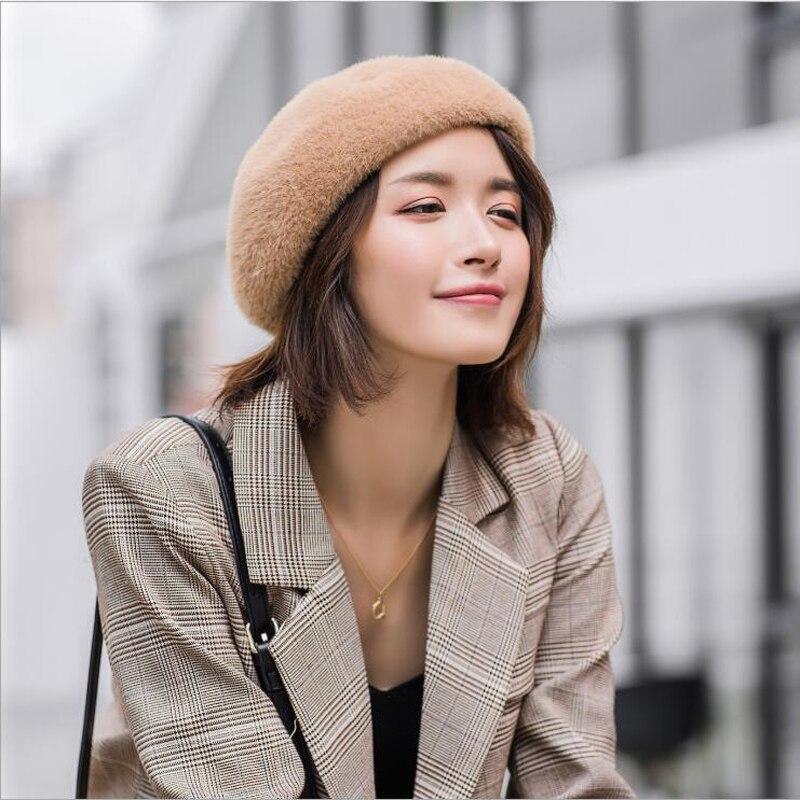 2019 nueva boina de invierno de alta calidad para mujer, boina de pelo de visón, boina de pelo para mujer, otoño e invierno cálido, gorro de calabaza