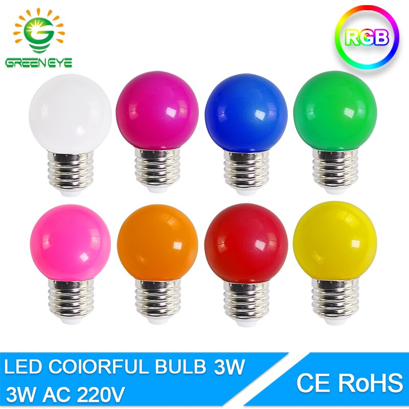 Светодиодная лампа Bomlillas E27 3 Вт цветная лампада Ampoule RGB Led светильник SMD 2835 вспышка светильник домашний декор AC 220 В Круглые лампы для дома