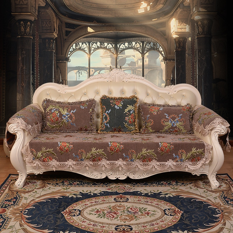 Alta-cubierta de sofá de estilo europeo de chenilla fundas de cojines de sofá para la sala de cuatro estaciones Universal sofá cubierta toalla
