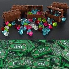 MOC ville briques blocs de construction pièces de monnaie argent billets de banque boîte à bijoux gemme pierre précieuse caraïbes Pirate Figure trésor jouet