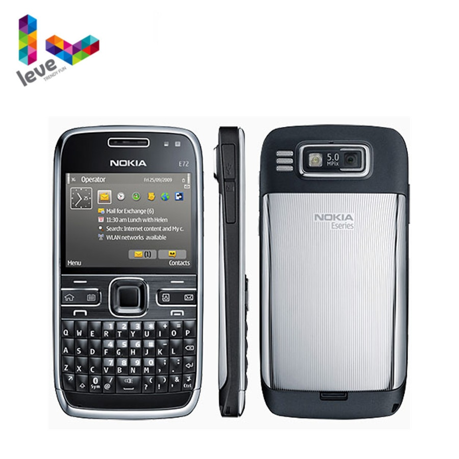 Original Nokia E72 Mobile Phone 3G Wifi 5MP Multi-Language Factory Unlocked Refurbished Cellphone NO Hebrew keyboard