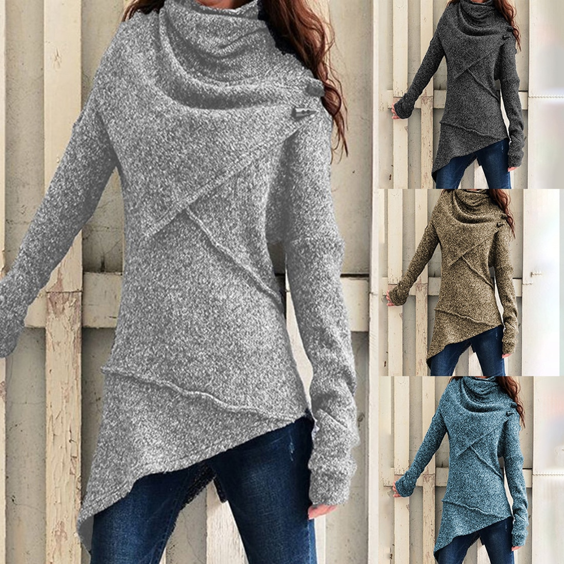 Malhas camisola de gola alta feminina outono inverno manga comprida jumpers moda irregular casual fino pulôver