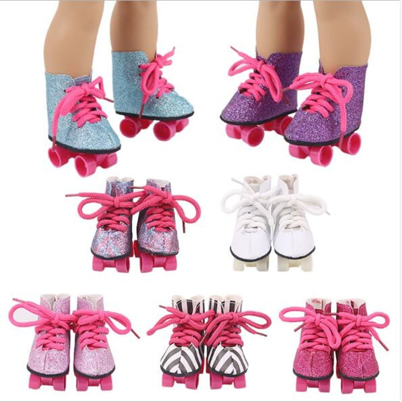 Fit 17 inch 43cm Born New Baby Doll Shoes Accessories Colorful  Roller Skates For Baby Birthday Gift недорого