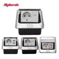 eu standard floor socket square shape pop up outlet box with rj45 netphoneusb connector aluminium alloy panel makerele