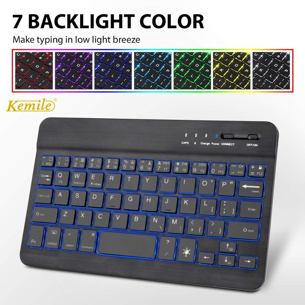 Russo ultra fino 7 cores led backlit backlight teclado sem fio bluetooth para ipad mini 7.9 teclado para android para windows