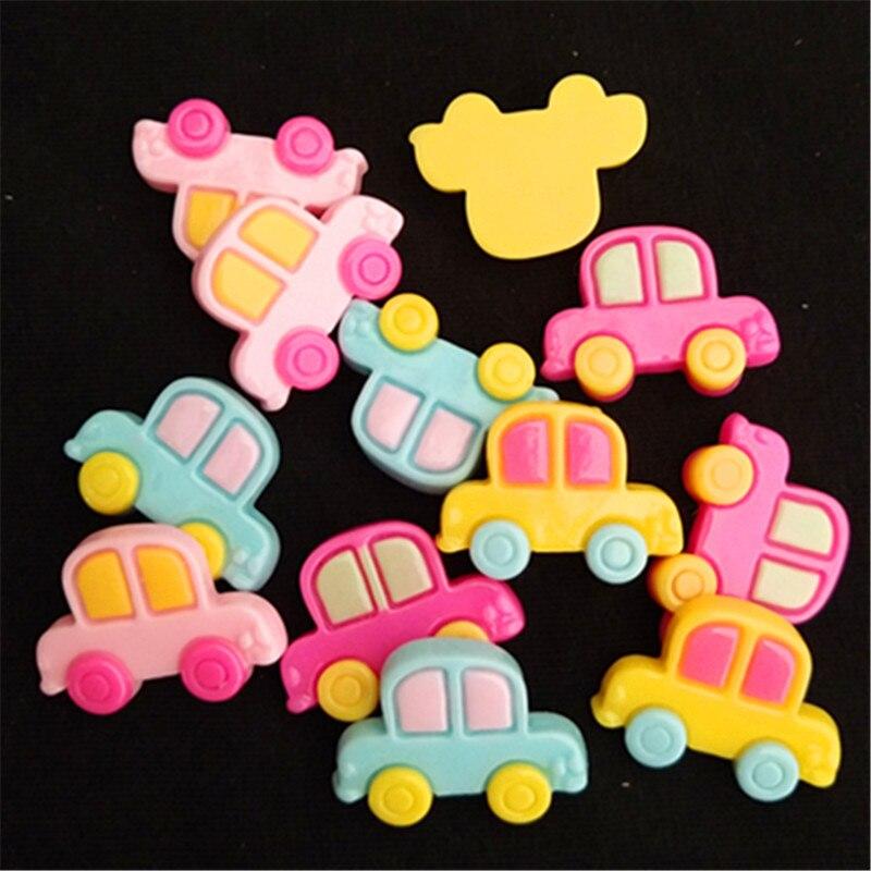 U PICK 40 unids/pack mezcla de colores lindo de resina de dibujos animados coche flatback cabochon diy adorno de pelo scrapbooking, 21*15mm