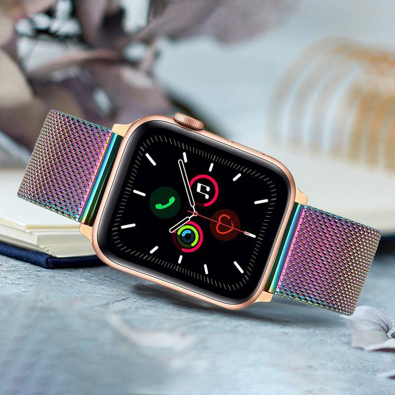 Correa de reloj milanesa colorida para iWatch Apple Watch Series 5 4 3 2 1 44/42/40/38mm correa de malla de acero inoxidable para hombres y mujeres
