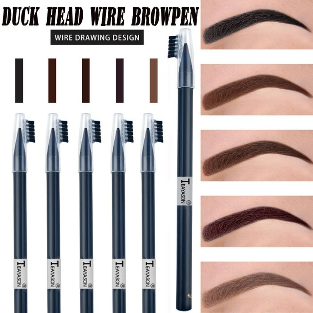 1Pc 5 Colors Waterproof Long-lasting Sketch Eyebrow Flat Pencil Tattoo Positioning Dye Tint Pen Brow Liner Pen Eye Makeup Tools