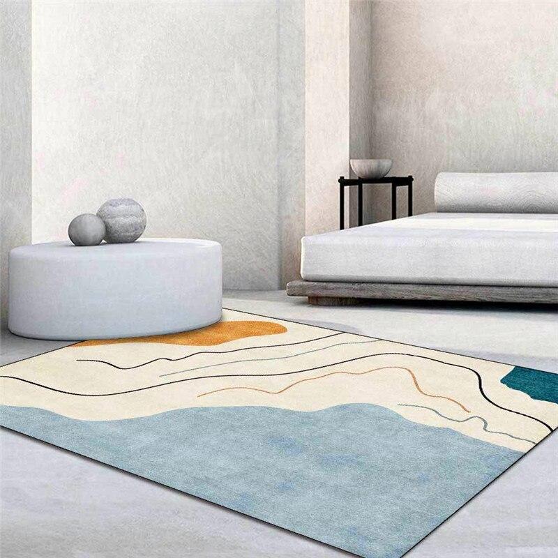 سجادة Morandi زرقاء بسيطة ، عصرية ، خطوط هندسية مجردة ، غرفة معيشة ، غرفة نوم ، سرير ، مطبخ ، حمام ، سجادة أرضية