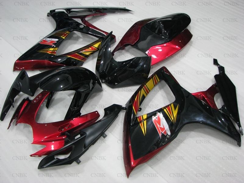 Carenado de Abs para GSXR 600 06 GSXR600 carenado Kits 07 GSXR600 carenados 2006 - 2007 K6 Rojo Negro