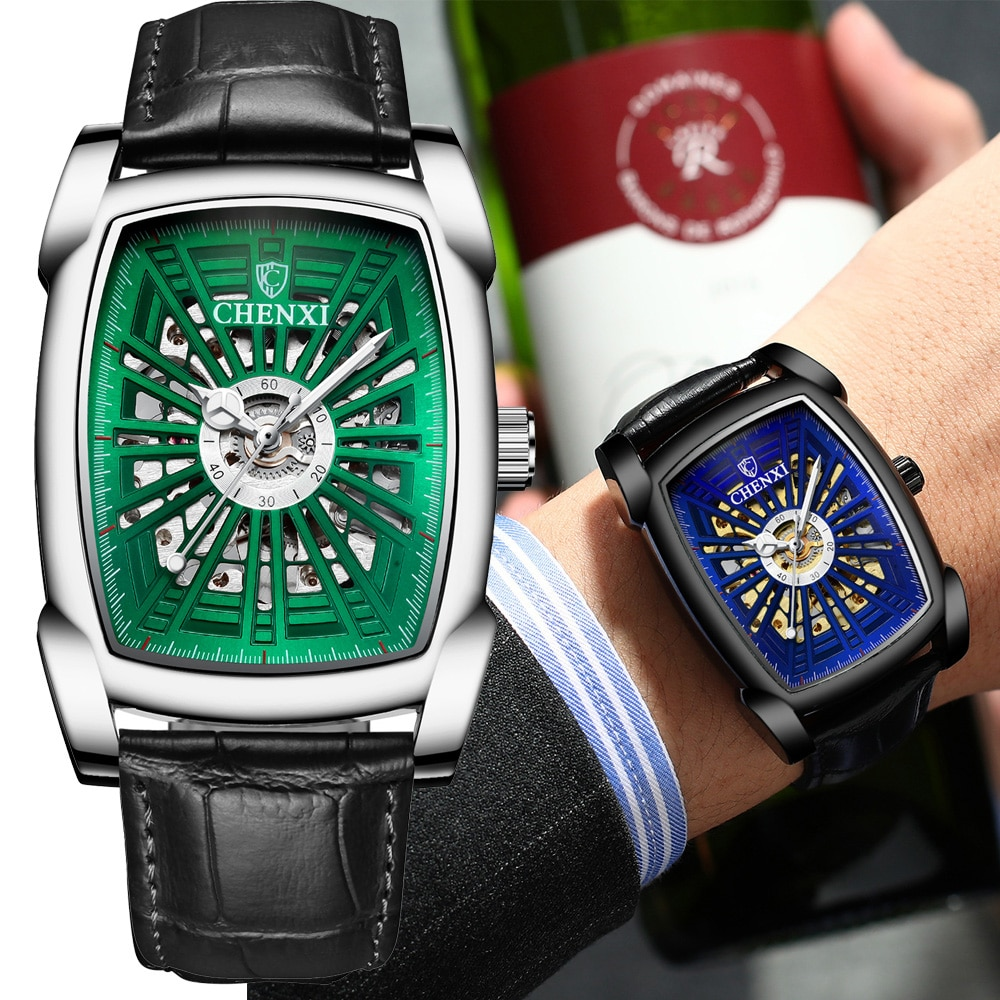2020 Luxury Brand Square Mechanical Watch Men Waterproof Fashion Automatic Self-Wind Business Wrist Watch relojes hombre saat