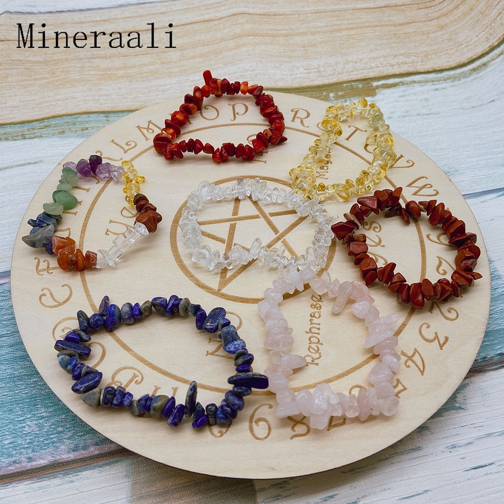 Irregular Natural Crystals 7 Chakras Stone Bracelet Beads Pink Quartz Amethyst Aventurine for Jewelry Making DIY Bracelet