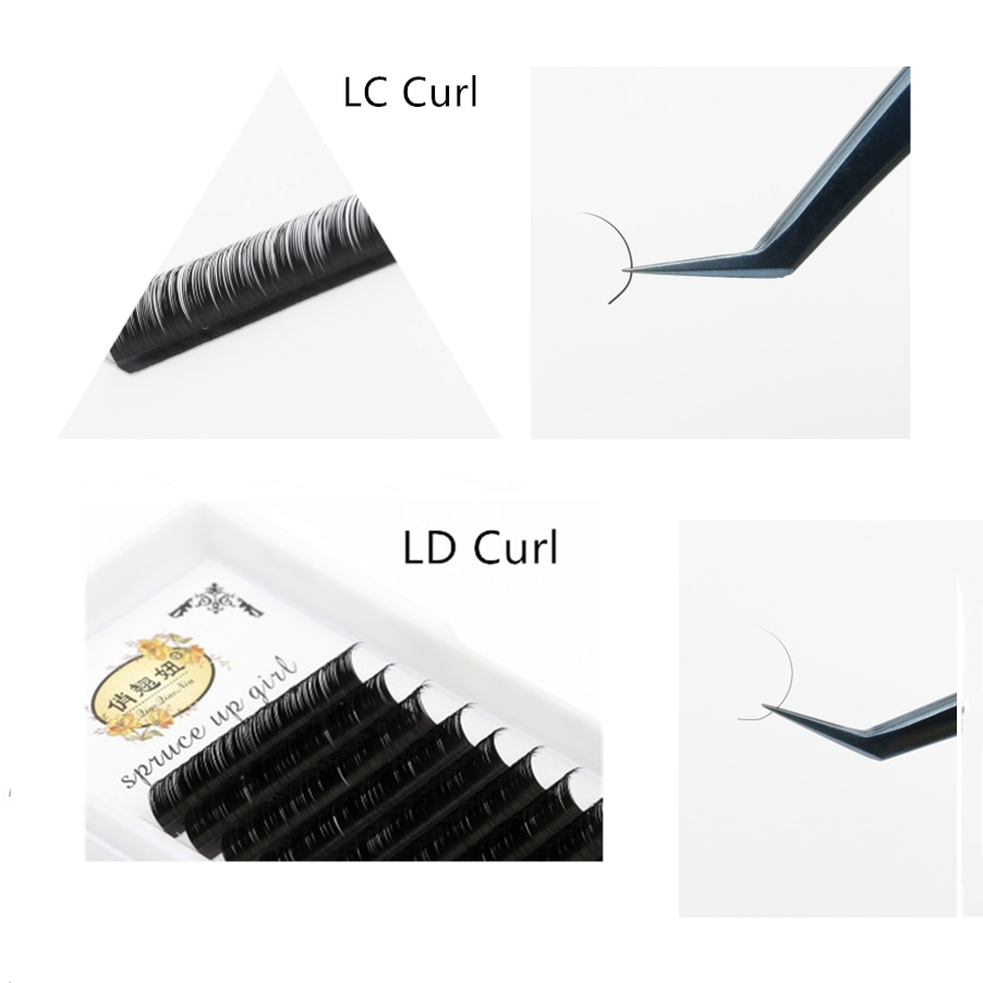 L/L +/LC/LD extensiones de pestañas postizas rizadas, Material de visón negro, bandeja con mezcla de 8-15mm L, maquillaje de rizos, arte exagerado fuffly