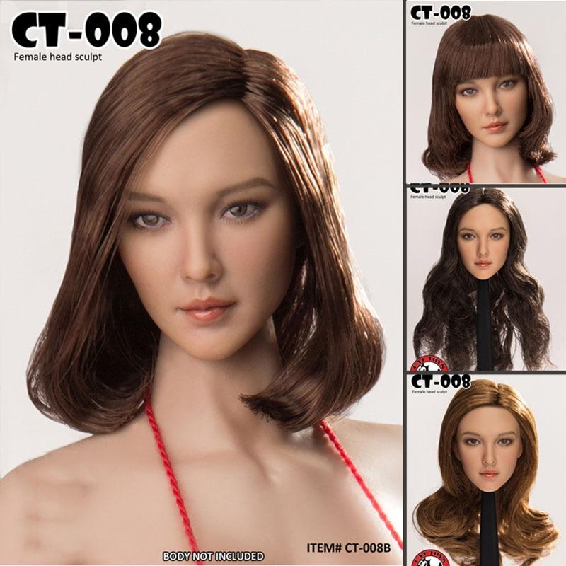 """Coleção 1/6 feminino asian beauty longo/cabelo curto cabeça esculpida ct008 a/b/c/d para 12 """"figuras de ação corpo bronzeado"""