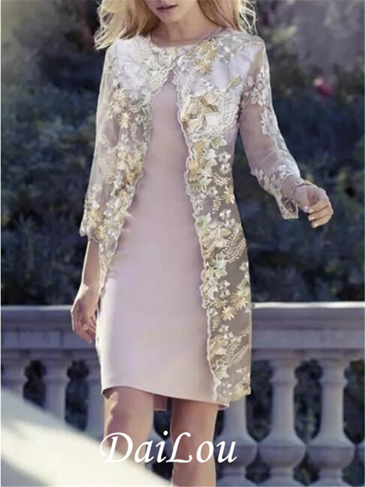 Платье-футляр для матери невесты, запал, украшение для шеи, длина до колена, полиэстер, рукав 3/4 с узором, 2021