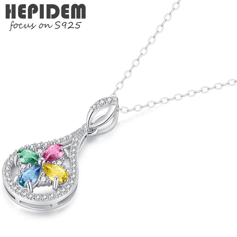 HEPIDEM 100% الياقوت قلادة قلادة للنساء 925 فضة 2022 الاتجاه الملونة حجر الأحجار الكريمة S925 مع سلسلة 1201