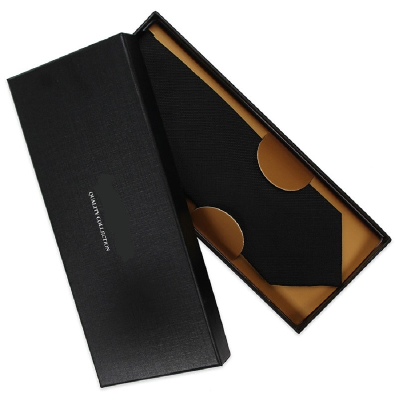 High Quality 2019 New Fashion Ties Men Business 8cm Black Blue 100% Silk Tie Wedding Ties for men Designers Brand with Gift Box