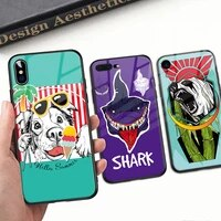 for animals iphone case hard black cover case tempered glass for iphone 11 12 pro max x xr xs max 8 7 6 6s plus