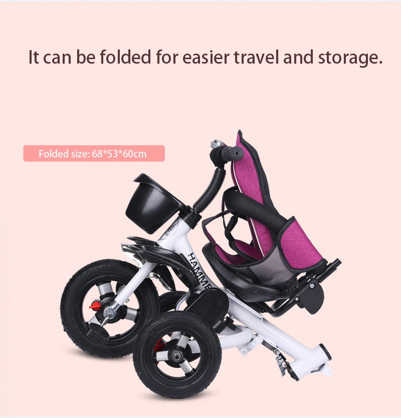 Foldable Children's Tricycle Bicycle 3 In 1 Baby Stroller Tricycle for Kids Baby Bike Can Sit Lie Baby Trolley Jogging Stroller enlarge