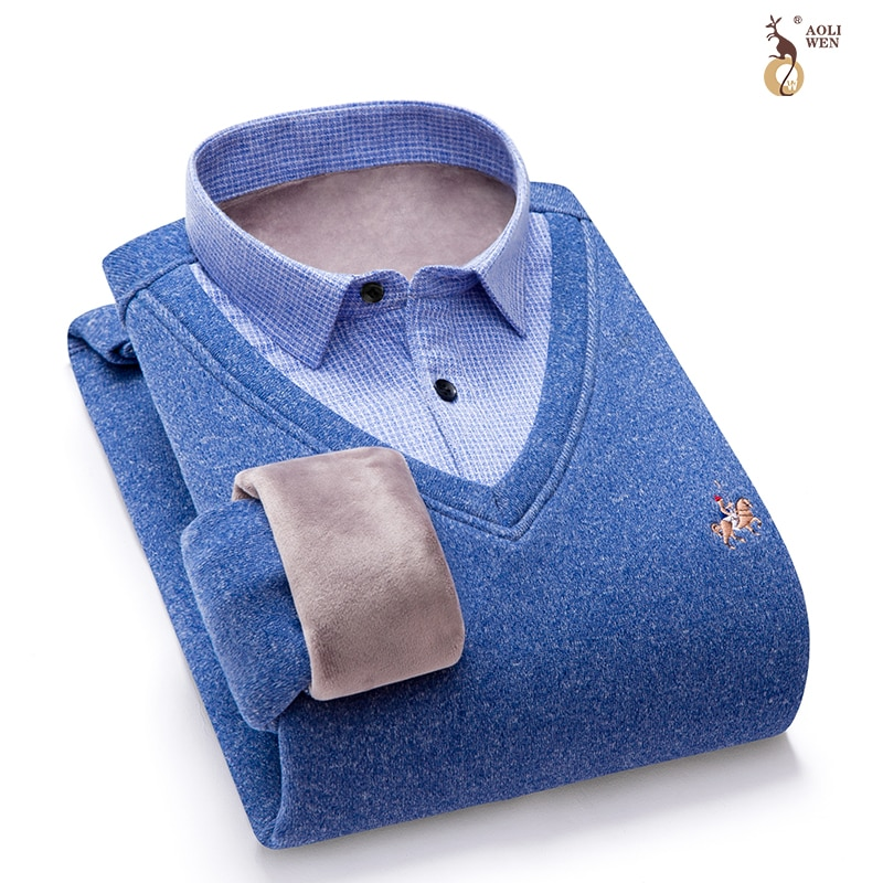 Aoliwen brand Men Cotton Sweater Men Long Sleeve Pullovers Outwear Man V-Neck sweaters Tops Loose Solid Fit Knitting Clothing
