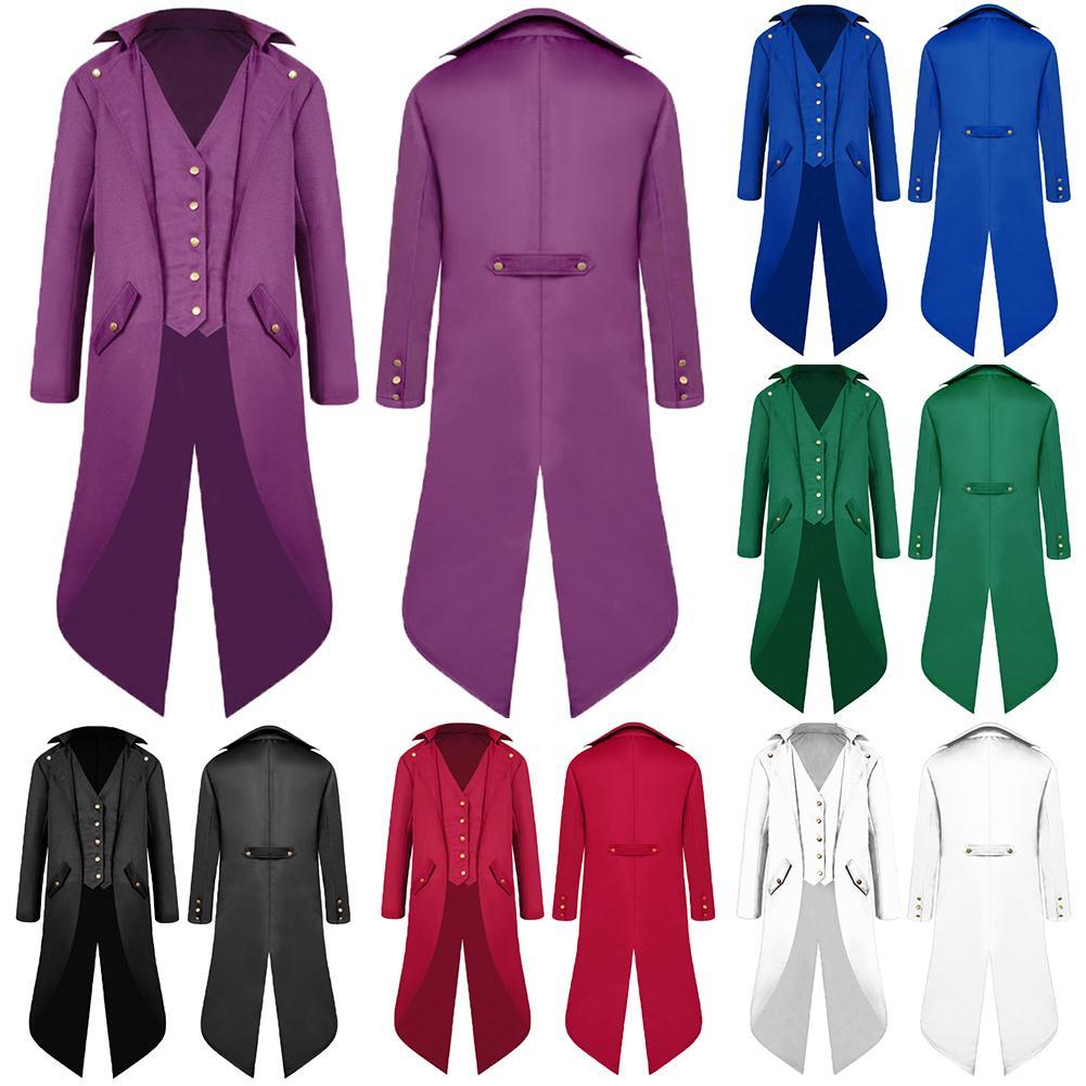 Chaqueta de esmoquin estilo gótico Medieval para hombre, chaqueta de esmoquin Steampunk Vintage victoriana, de manga larga, de licra, para hombre