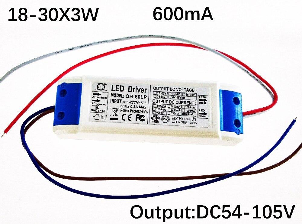 10 pçs/lote 600ma LED Driver 18-30x3w DC54-105V High Power LED Power Supply 60W 70W 80W 90W Transformadores de Iluminação DC