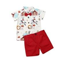 Комплект джентльменской одежды из 2 предметов для маленьких мальчиков, Casaul, одежда для маленьких мальчиков топы с узлами с принтом цирка и бантом + шорты, вечерние наряды
