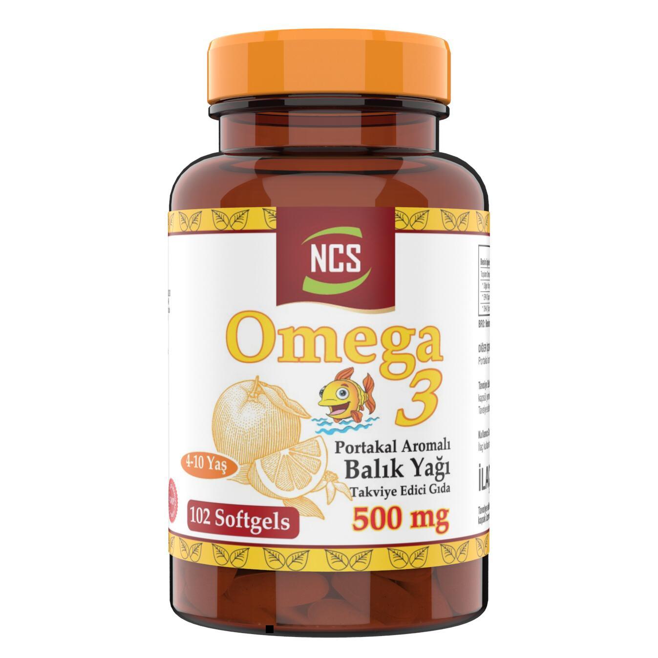 NCS Omega 3 aceite de pescado con sabor a naranja 500mg Softgel 102 para niños