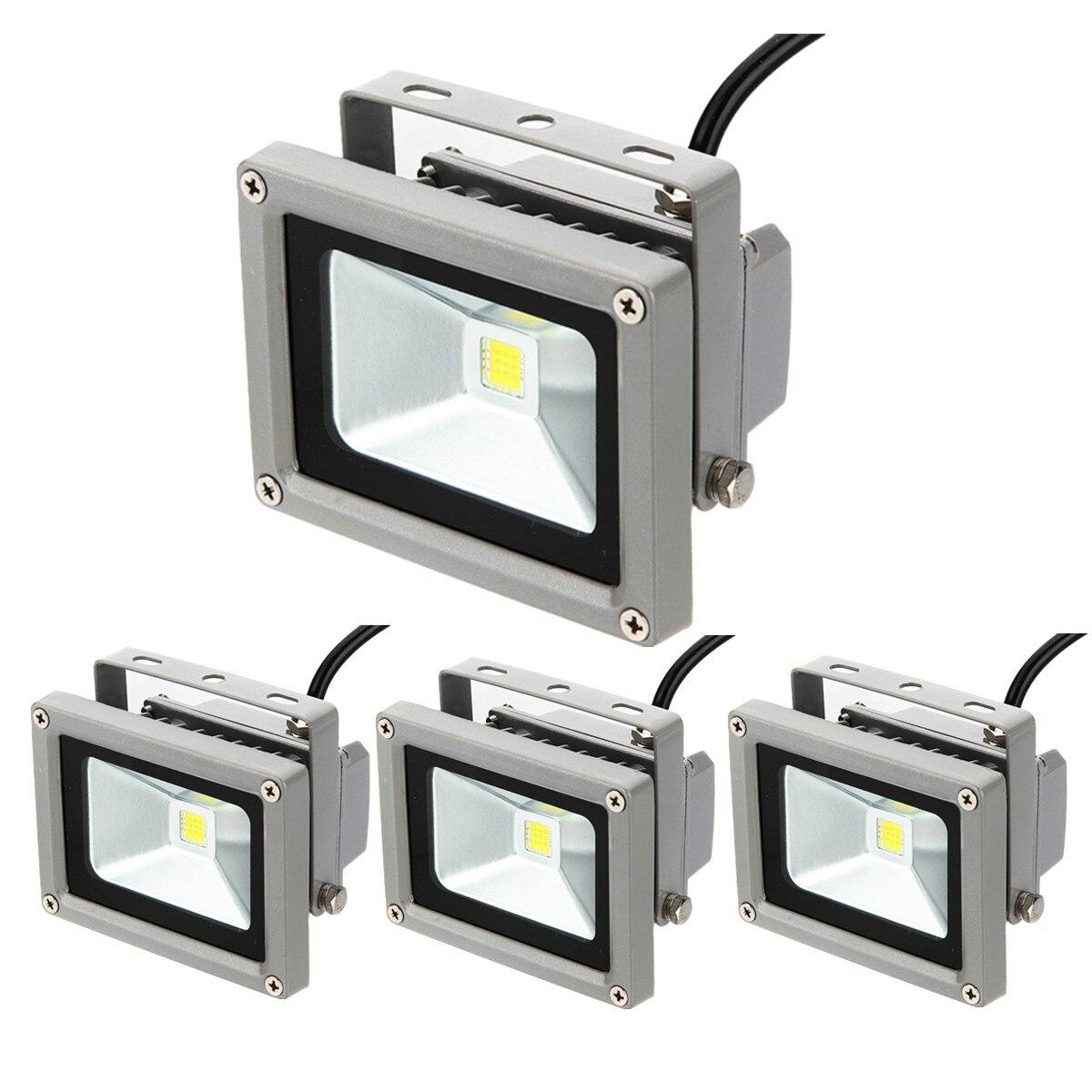 Lámpara LED de proyector IP65 de alta potencia, para exteriores, IP68, color blanco puro, 4 unidades por paquete, 12V CC, 10w