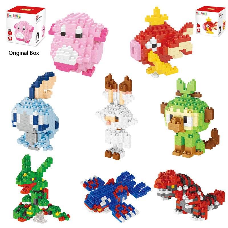 Mini blocos de construção 3d diy micro tijolo blok brinquedos educativos pokemon magikarp rayquaza grookey chansey scorbunny sobble kyogre